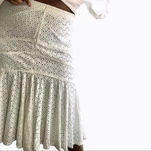 Vintage White Midi Eyelet Skirt - Size L